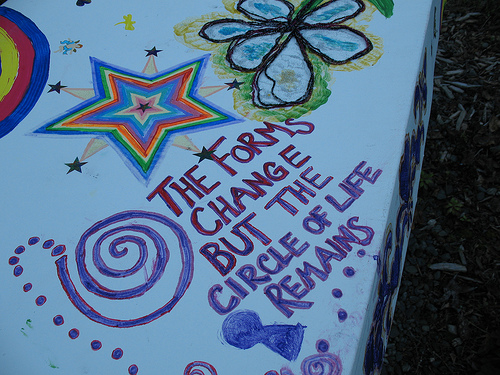 Handpainted message on a cardboard transport container